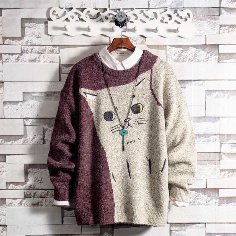Wholesale 2020 embroidery teenagers casual Couple cat sweater men's autumn and winter warmth base thick plus velvet sweater1101