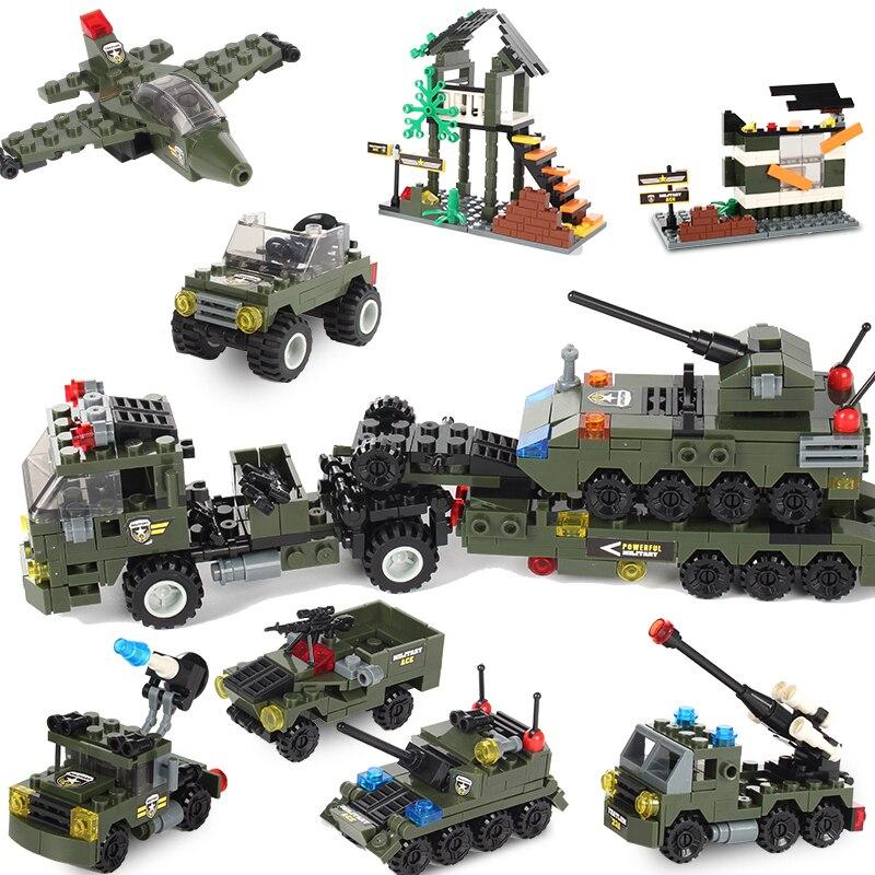 780 Uds. 8 en 1, tanque militar, avión, bloques de construcción, camión especial de policía, vehículo blindado, ladrillos creativos, juguetes para niños