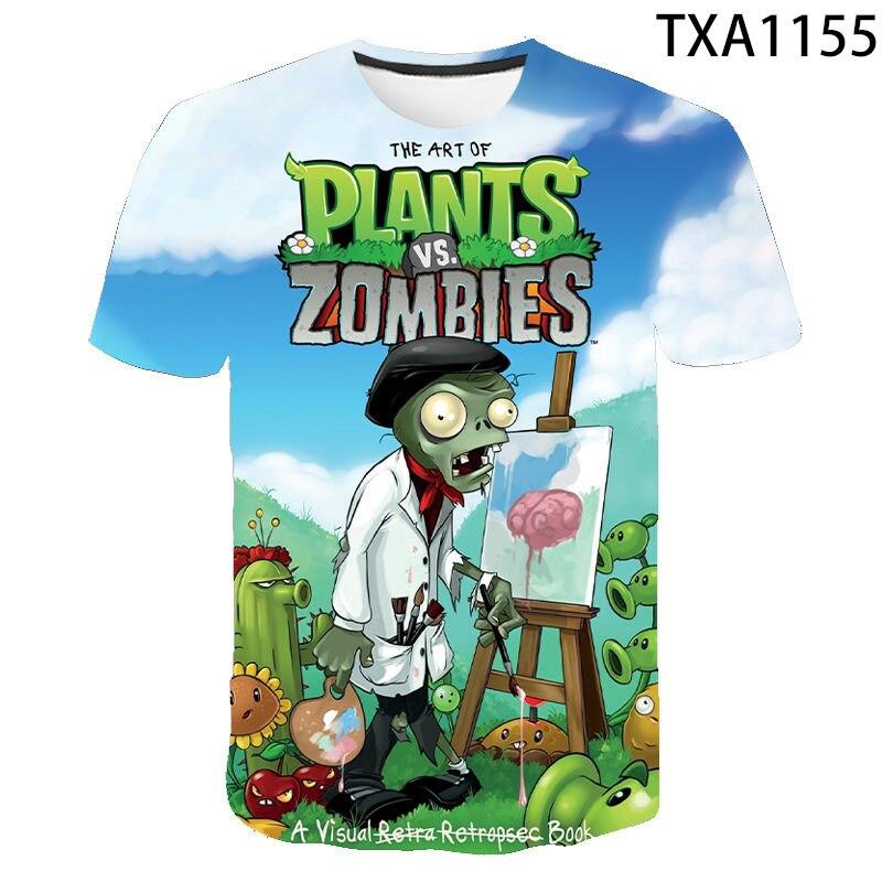 2020 hombres y mujeres nueva casual de manga corta plantas de moda vs Zombies 3D impreso ropa de los niños fresca camiseta transpirable