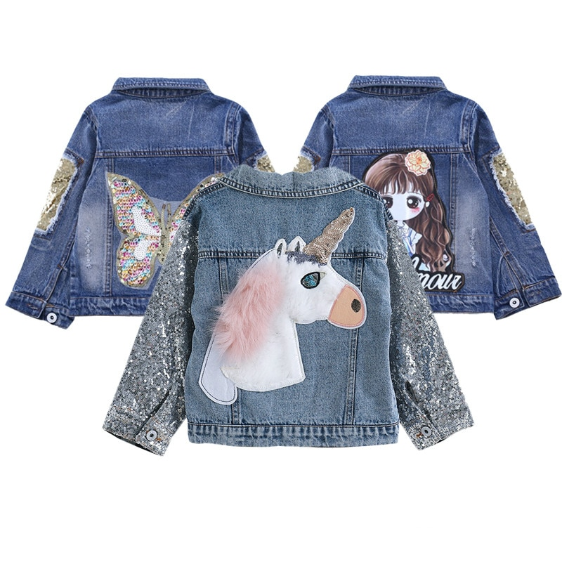 Jaqueta infantil unicórnio para meninas moda estilo lantejoulas design outerwear bordado bebê meninas jaqueta & casacos crianças jean