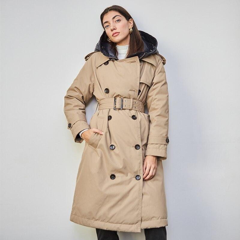 أسفل خندق معطف الشتاء الأبيض بطة سترة نسائية ثقيلة مقنعين طويلة سميكة الدافئة السترات البخاخ ريشة الإناث
