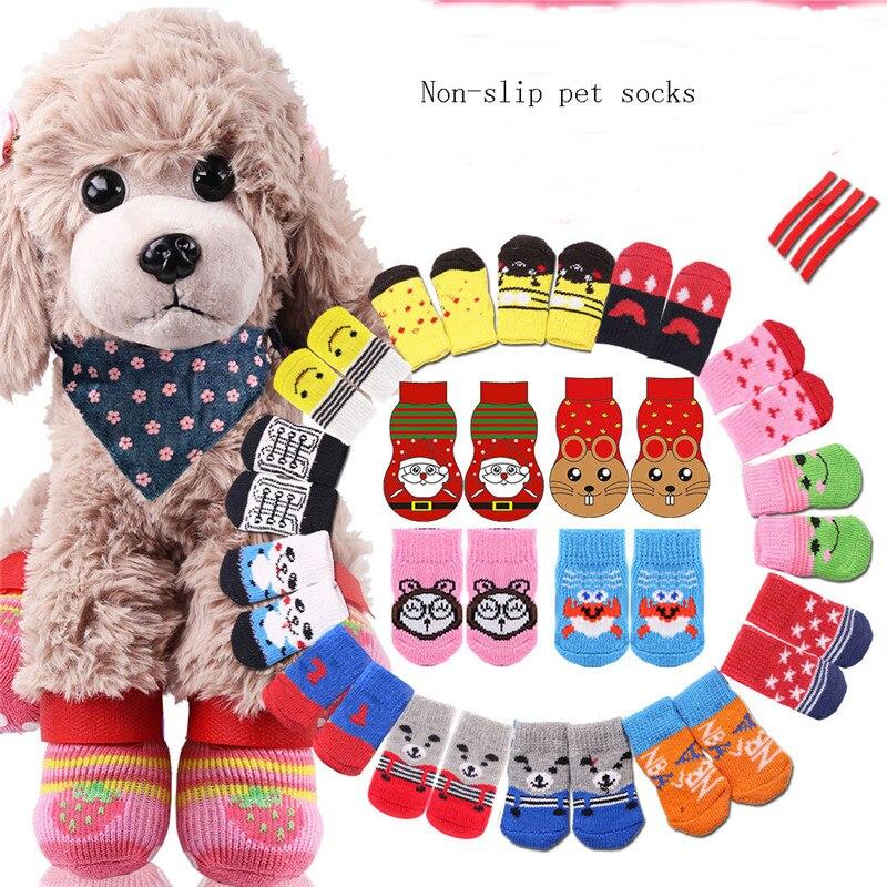 Calcetines de punto con dibujos animados para mascotas, antideslizantes, suaves y transpirables,...