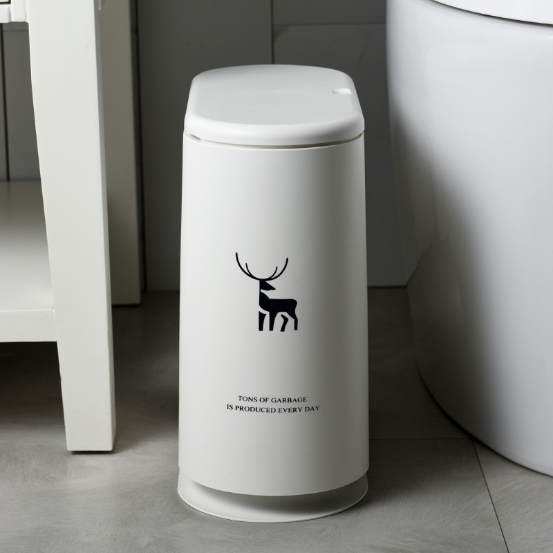 European Trash Can White Rectangular Pressing Type Waste Bins Plastic Eco-Friendly Cubo Basura Kitchen Accessories EH50WB enlarge