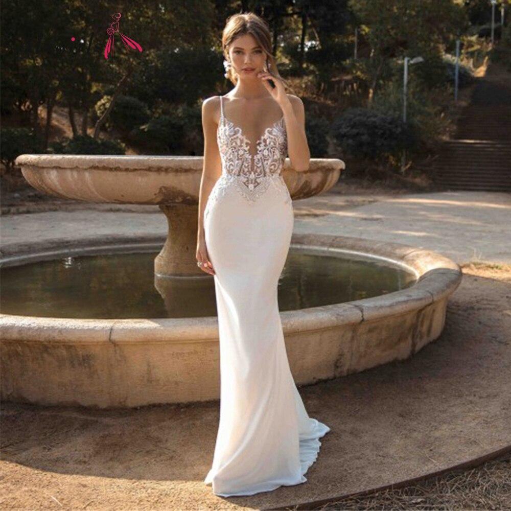Get Alagirls Sexy Mermaid Wedding Dresses 2021 Spaghetti Straps Appliques Lace Beach Bride Dress Backless Boho Wedding Gown vestidos