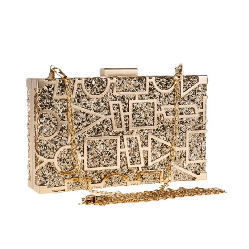 Women Evening Bag Black/Silver/Goldd Wedding Party Bags Metal Hollow Design Clutches Bling Gold Clutch Bags Purses