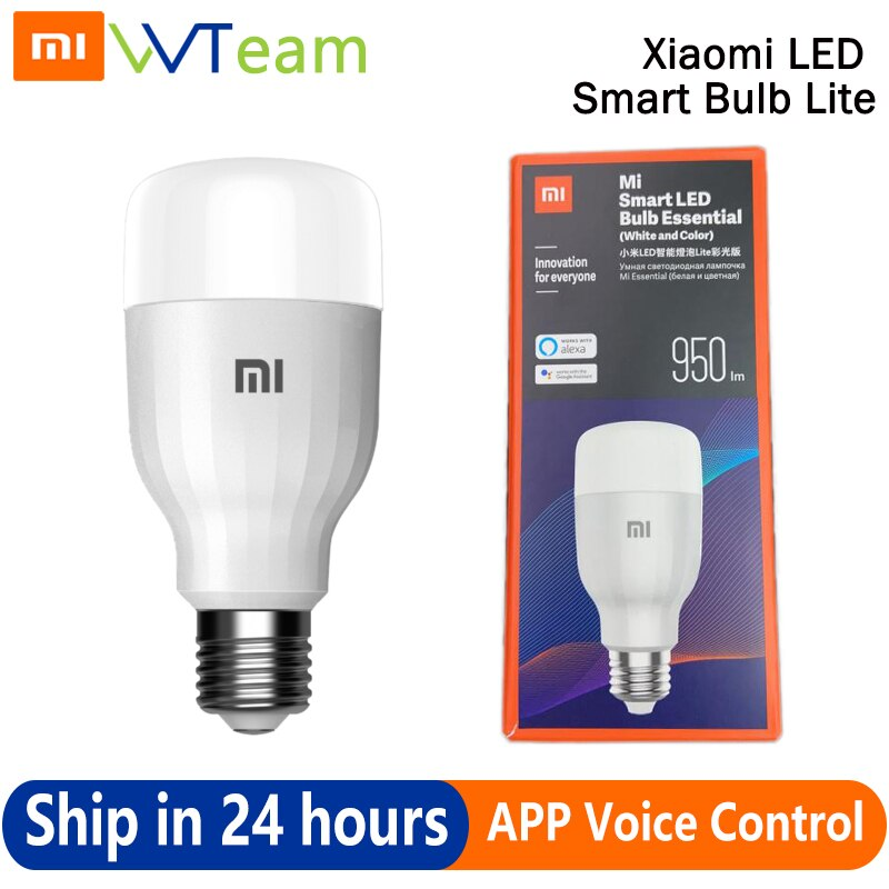 Xiaomi LED الذكية لمبة الضروري لايت العالمية اللون n الأبيض APP WIFI التحكم الصوتي 9W 16 الملايين درجة حرارة اللون مصباح