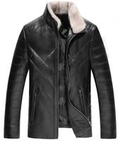 mens leather jacket winter jacket men genuine sheepskin coat for men mink fur collar down jackets plus size lsy088381 my1650