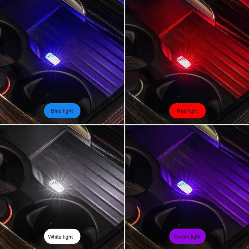 Carro mini usb luz led luz de modelagem carro luz ambiente néon interior do carro luz interior jóias (7 tipos de cores de luz)