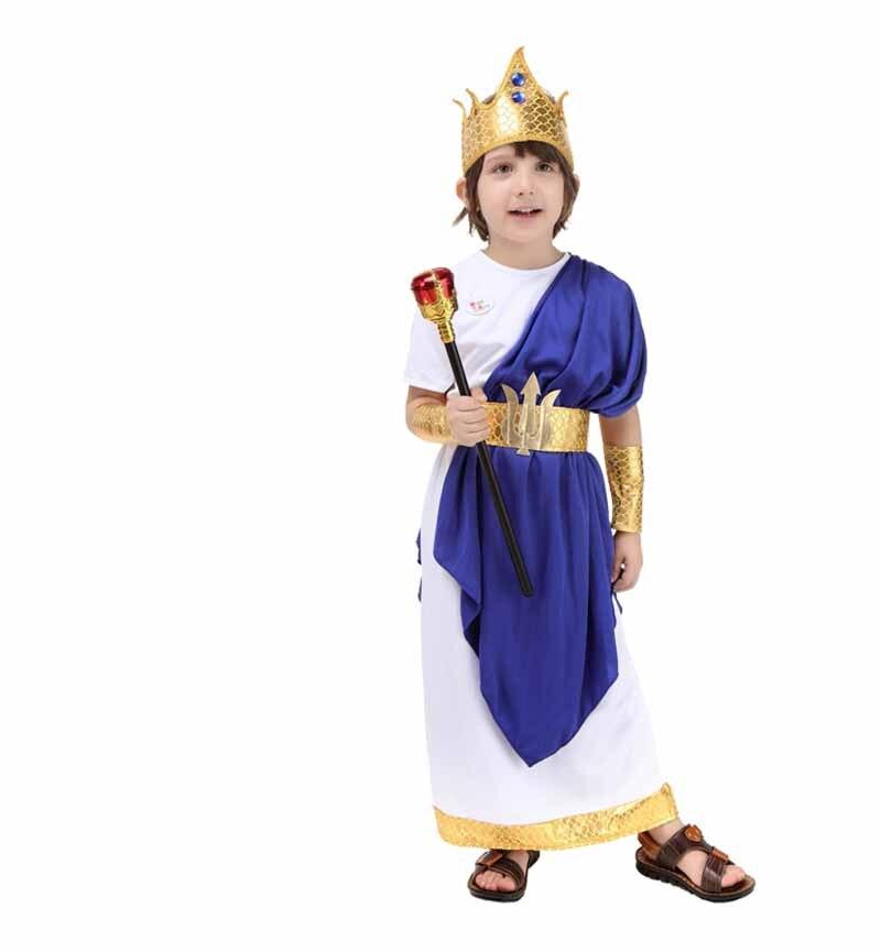 Children`s Poseidon Costume Fantasia Boys Kids Halloween Carnival Cosplay Costume Birthday Gift Blue For Boys 2-12T