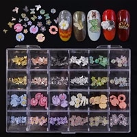 240pcs 24shapes gummy bears gummy butterflies nailart overlay 3d pearls flower mix rose 10mm nail decorations nail charm 21