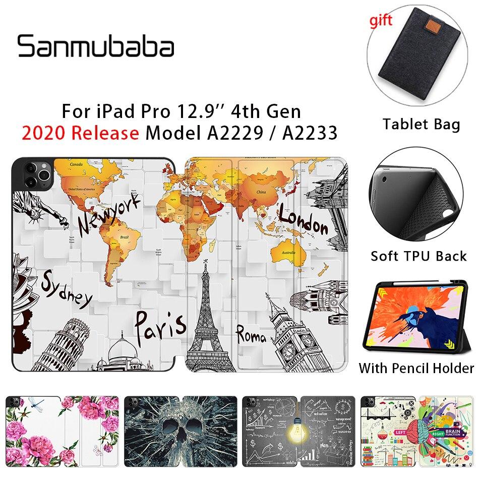 Sanmubaba 2020 funda para tableta para iPad Pro 12,9 pulgadas A2229 A2233 con portalápices TPU parte trasera suave + Funda de cuero de PU con tapa inteligente coque