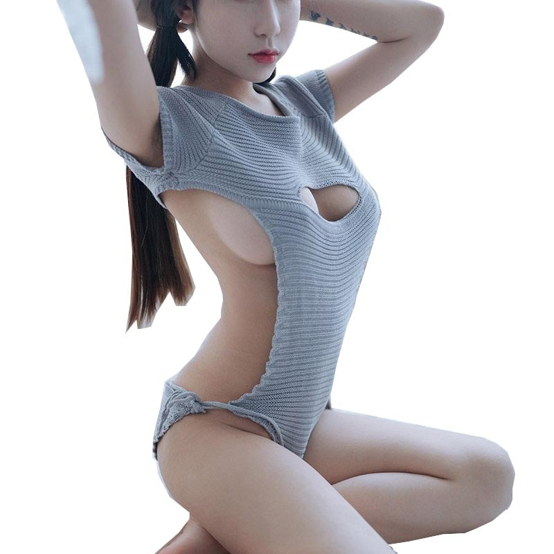 Sexy femmes Cosplay dos nu vierge tueur chandail body Bandage creux ouvert poitrine japonaise tricots et pulls
