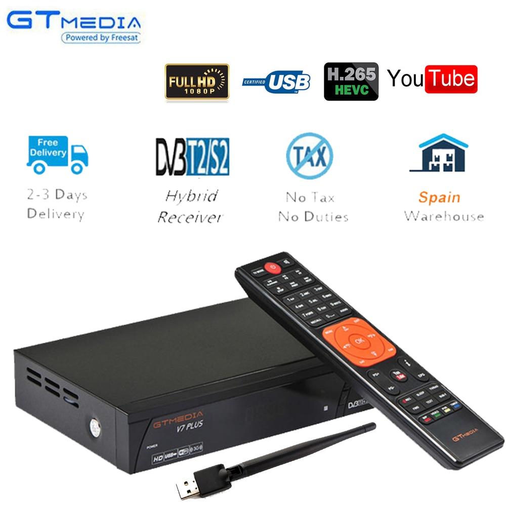 Medios GT V7 más DVB-S2 DVB-T2 + wifi usb ccam satélite decodificador TDT TV Digital terrestre receptor FTA 1080P Full HD PVR Cccam