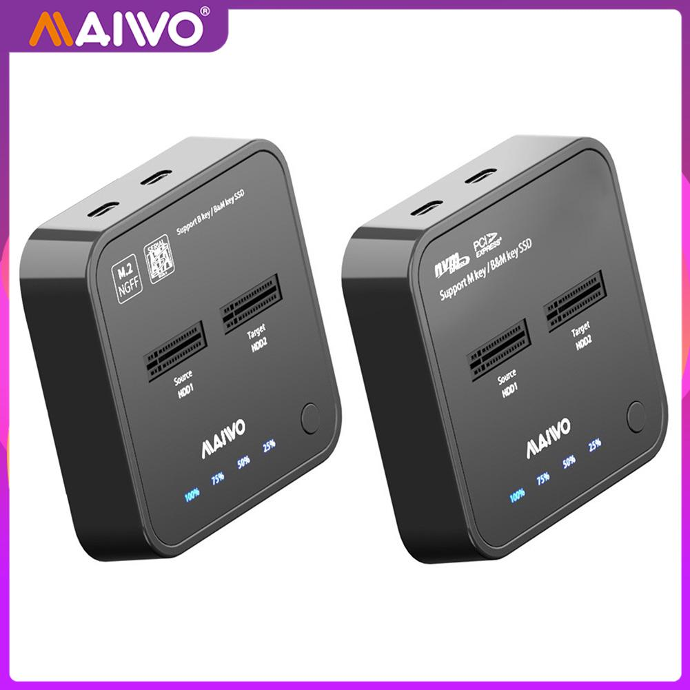 MAIWO K3016 USB 3.1 Type C to M.2 Dual Bay External Hard Drive Docking Station with Offline Clone for M2 NGFF SSD