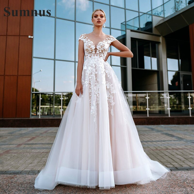 Review SoDigne Pink Boho Wedding Dress Lace Appliques Tulle Illusion Beach Wedding Gowns Cap Sleeves Princess Bridal Dress