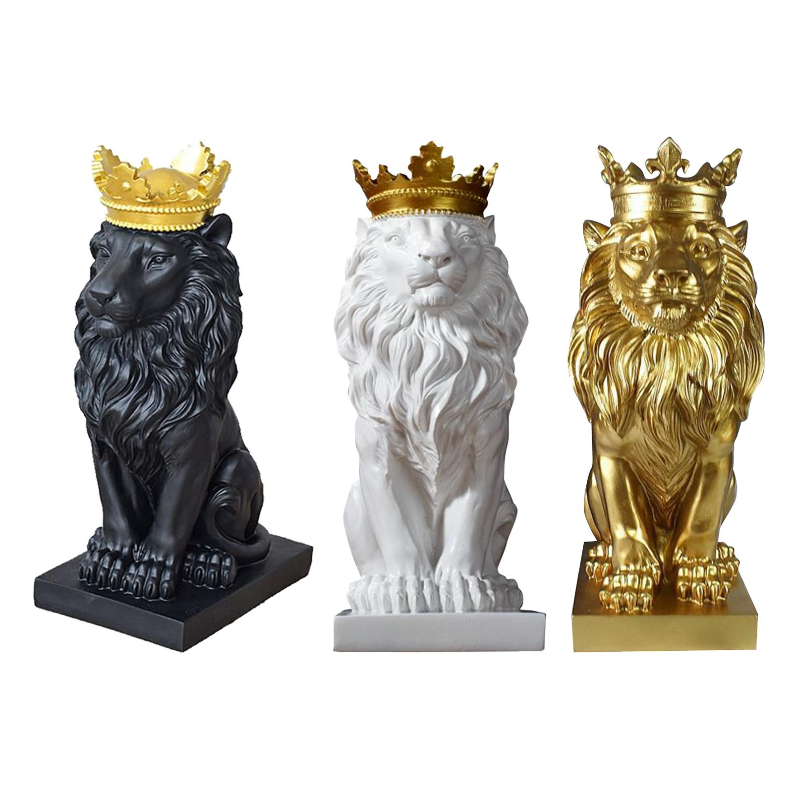 Abstrato Coroa Leão Estatueta Escultura Resina Estátua Artesanato Ornamentos Casa Escritório Varanda Arte Decoração Animal