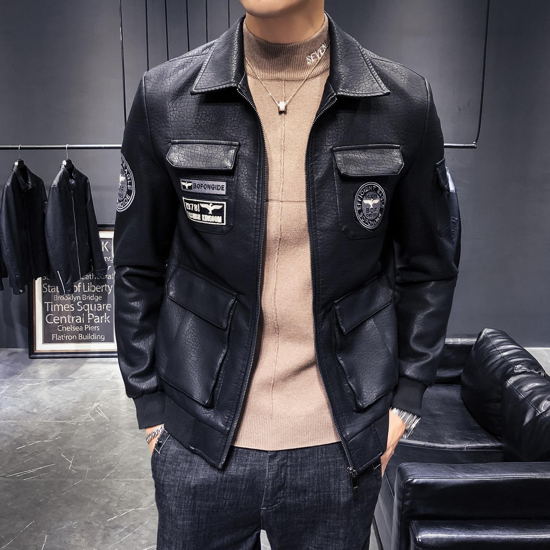 Мужские кожаные куртки сезона осень-зима 2021, модные локомотивные Куртки из искусственной кожи, Мужские приталенные кожаные повседневные ку...