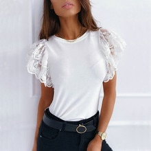 Summer Lace Patchwork Slim T-Shirt Women Ruffles Short Sleeve Tees 2021 Elegant Casual Solid Tops Ladies O Neck White Black Tops