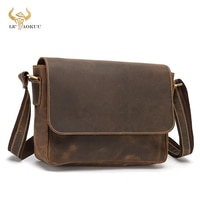 Thick Crazy Horse Leather Male Retro Travel Messenger bag Designer Satchel 13\