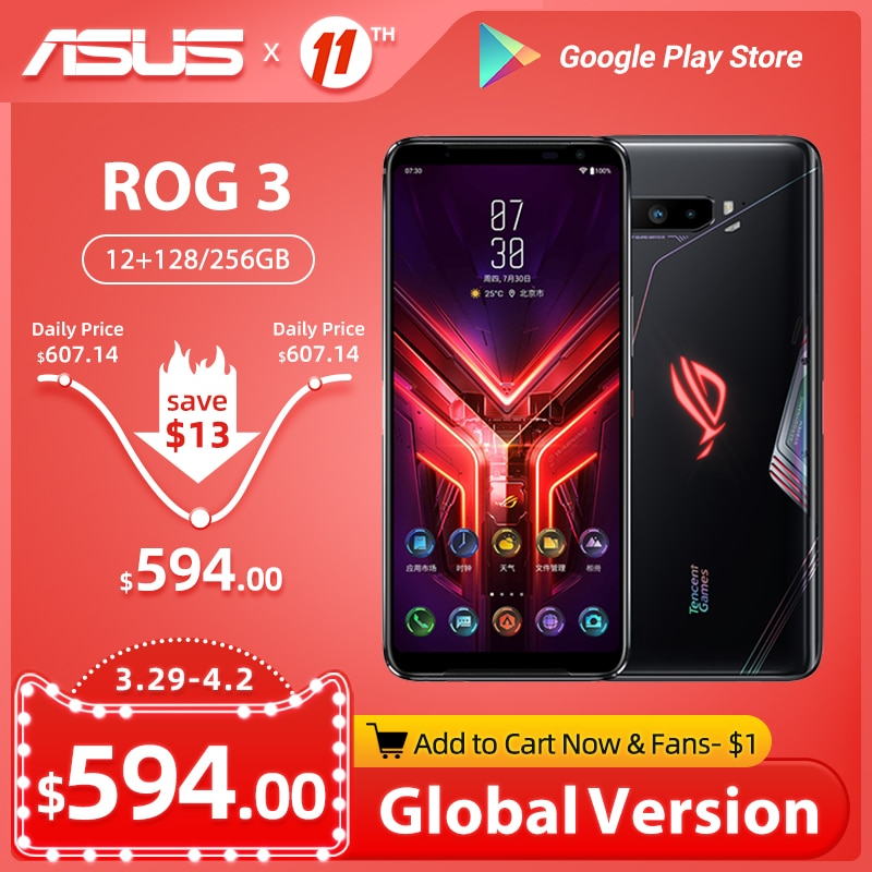 Global ROM ASUS ROG 3 Phone 5G Gaming Phone Snapdragon 865/865Plus 6000mAh 144Hz FHD+ AMOLED Android Q NFC ROG3 5G Smartphone