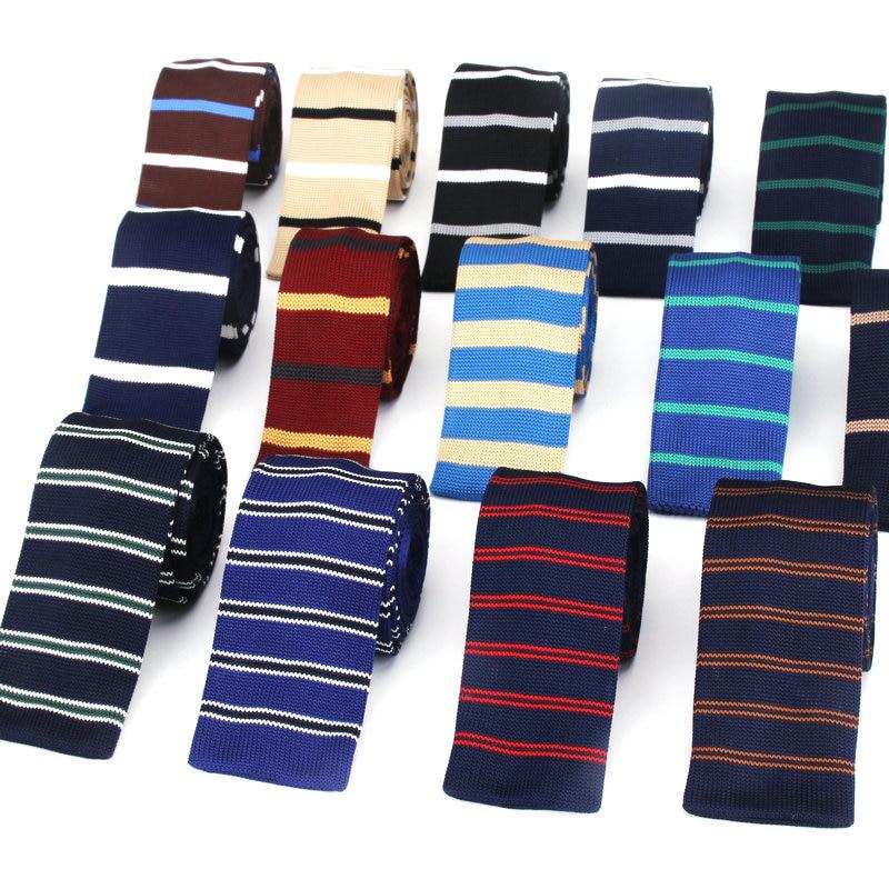 Fashion Knit Tie Black Gray Slim Necktie weave Narrow Neck Ties For Men Casual Business Wedding Skinny Stripe Cravat Accessories