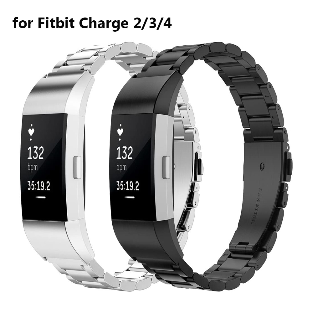 Soild Stainless Steel Wristband for Fitbit Charge 4 & Charge 3/2 Metal Bands Straps Replacement Brac