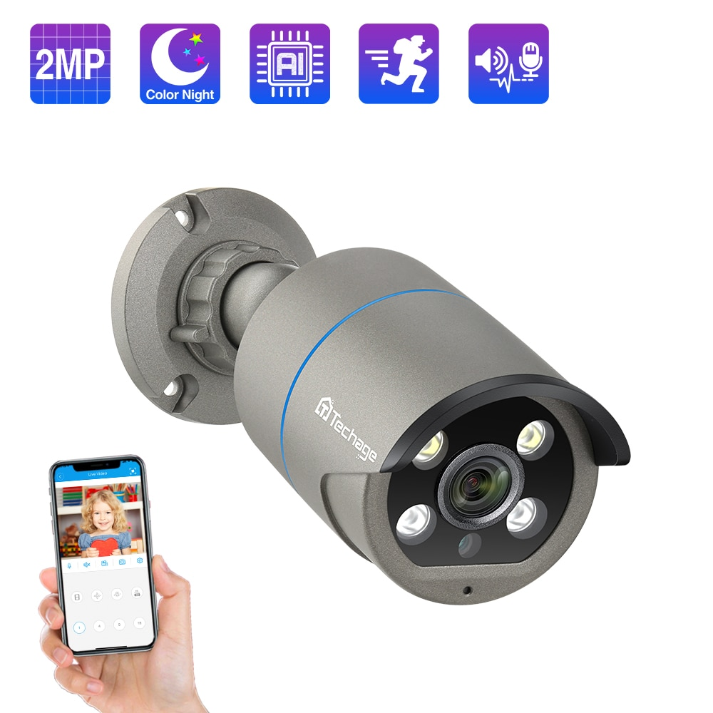 Techage H.265 1080P 48V POE IP cámara de Audio de dos vías AI humano detectada 2MP IP Cámara Onvif impermeable vídeo CCTV vigilancia POE