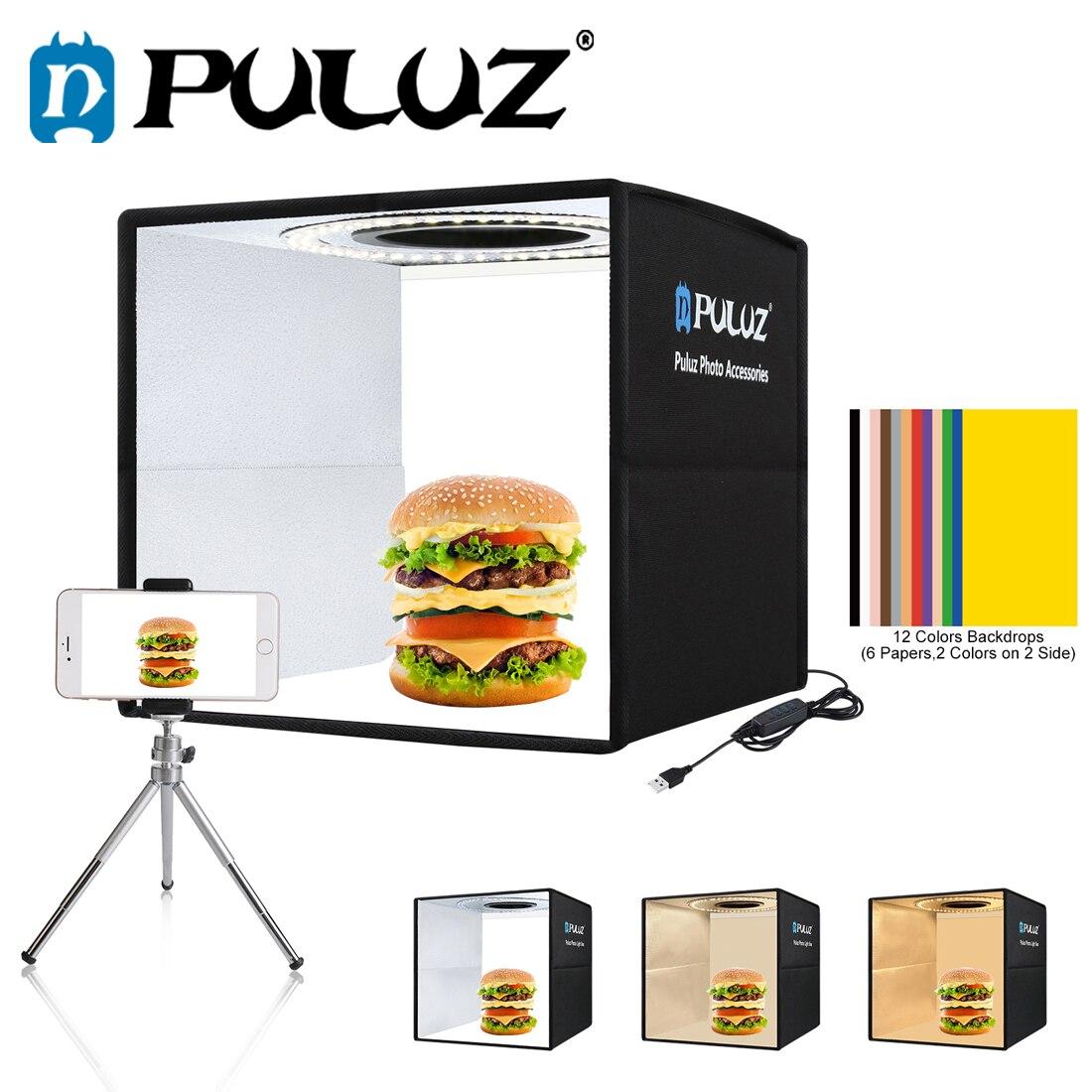 PULUZ Softbox 3 Color light Modes Lightbox Dimmable Led Ring Light Box Photo Lighting Studio Shooting Tent Box 6 Color Backdrops