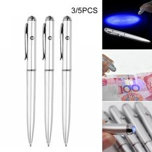 Invisible Ink Pen 3/5pcs Ballpoint Rotate Ballpoint Magic Pens with UV Purple Light 13.8cm Office School Supplies Ballpoint Pens
