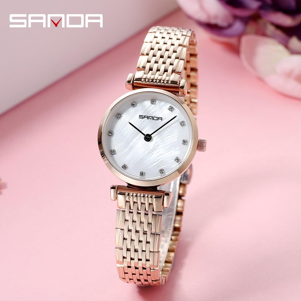 SANDA, reloj de oro rosa para mujer, reloj de cuarzo ultrafino de negocios, reloj de pulsera impermeable para mujer, reloj de pulsera para chica, reloj para mujer