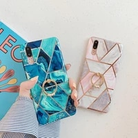 retro plated marble shockproof imd ring holder case for huawei p20 30 40 pro mate2030 pro soft silicone phone cover skin