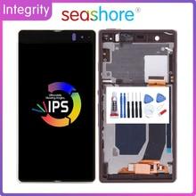 """5.0 """"oryginalny dla SONY Xperia Z LCD ekran dotykowy Digitizer zgromadzenie dla Sony Z wyświetlacz Z ramą wymiana L36h C6602 C6603"""