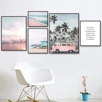 pink bus sea wave beach coconut tree wall art canvas painting nordic posters and prints wall pictures for living room decor