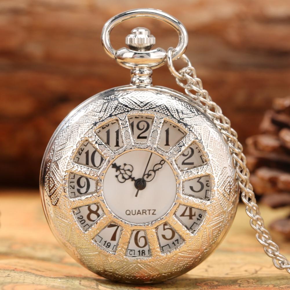 Антикварные кварцевые карманные часы, серебристые карманные часы с полым ремешком, модные карманные часы с подвеской для метро, лучший пода...