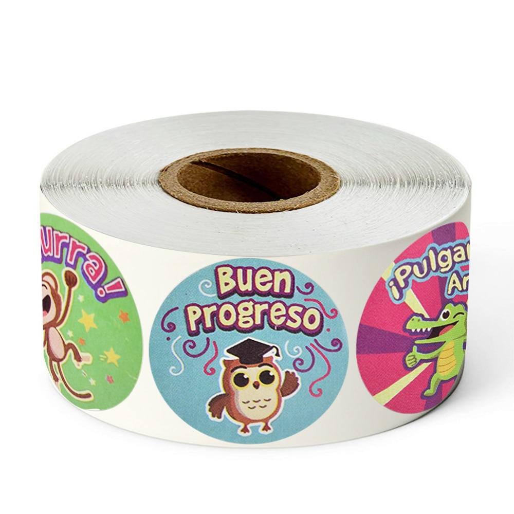 Animals Reward Stickers Roll 1 inch Cute Spanish Words Seal Labels for School Reward Kids Gift Toys