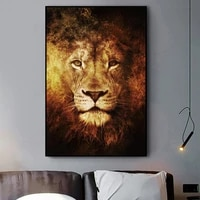 abstract fire lion poster canvas painting wall art african wild animal posters and wall prints pictures cuadros for living room