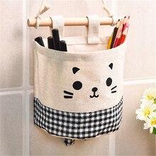 Pochette de rangement en tissu coton   Pochette murale suspendue, sacs de rangement, organisateur de poches pour cosmétiques, conteneurs de rangement, sacs de rangement