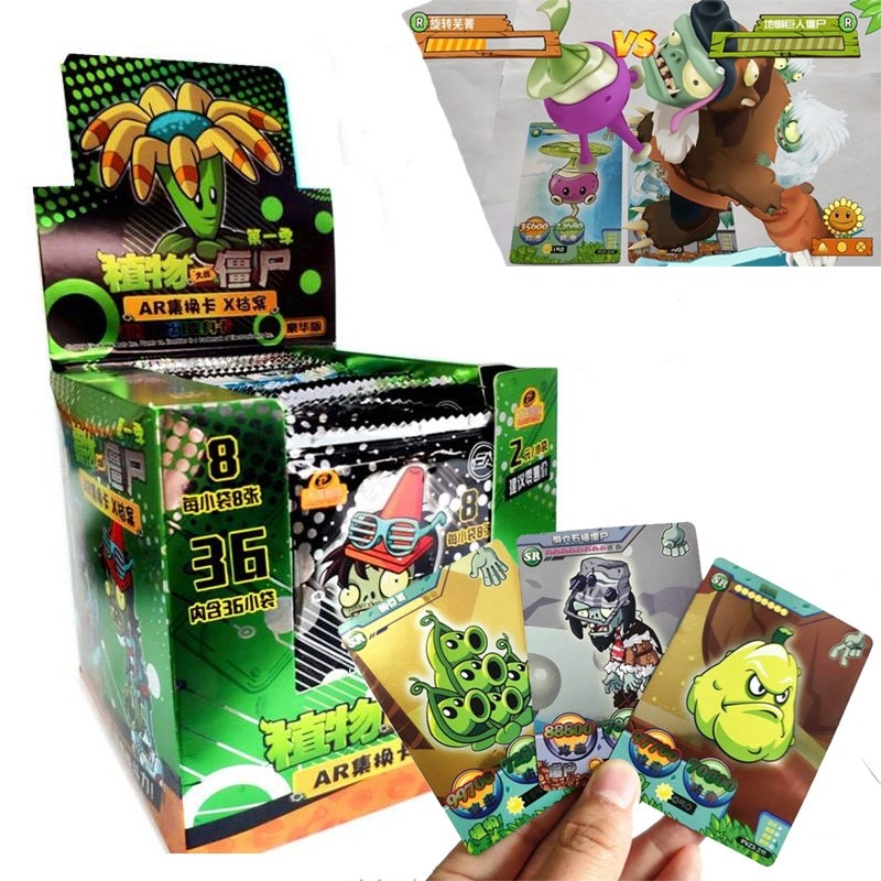 2021 New 288pcs Plants Vs Zombies Cards Plants Zombies Action Figures Collect Card Pea Shooter Sunflower Trading Card Kid Toy boys toy plants vs zombies hand dolls 3 years old doll pea shooter pepper cannibal flower toy birthday and christmas gifts