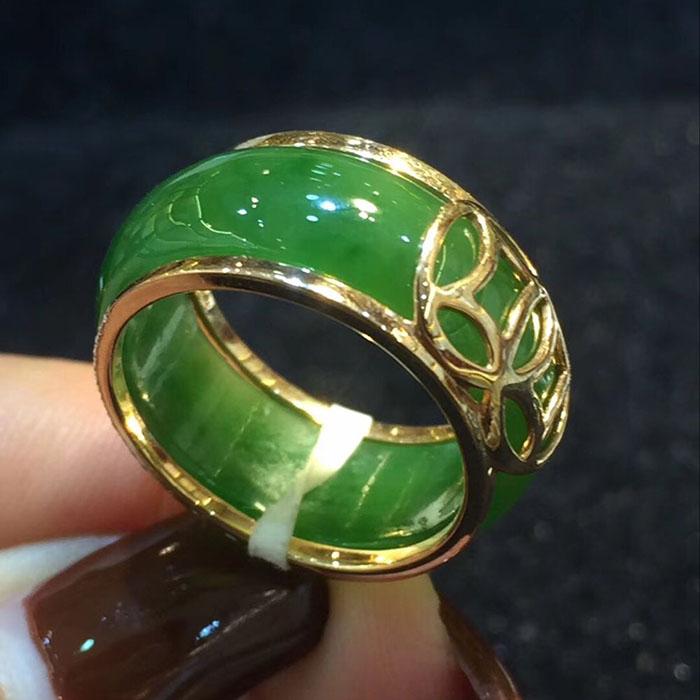 fine jewelry Unisex jewellery green jade stone ring size:7# 8#