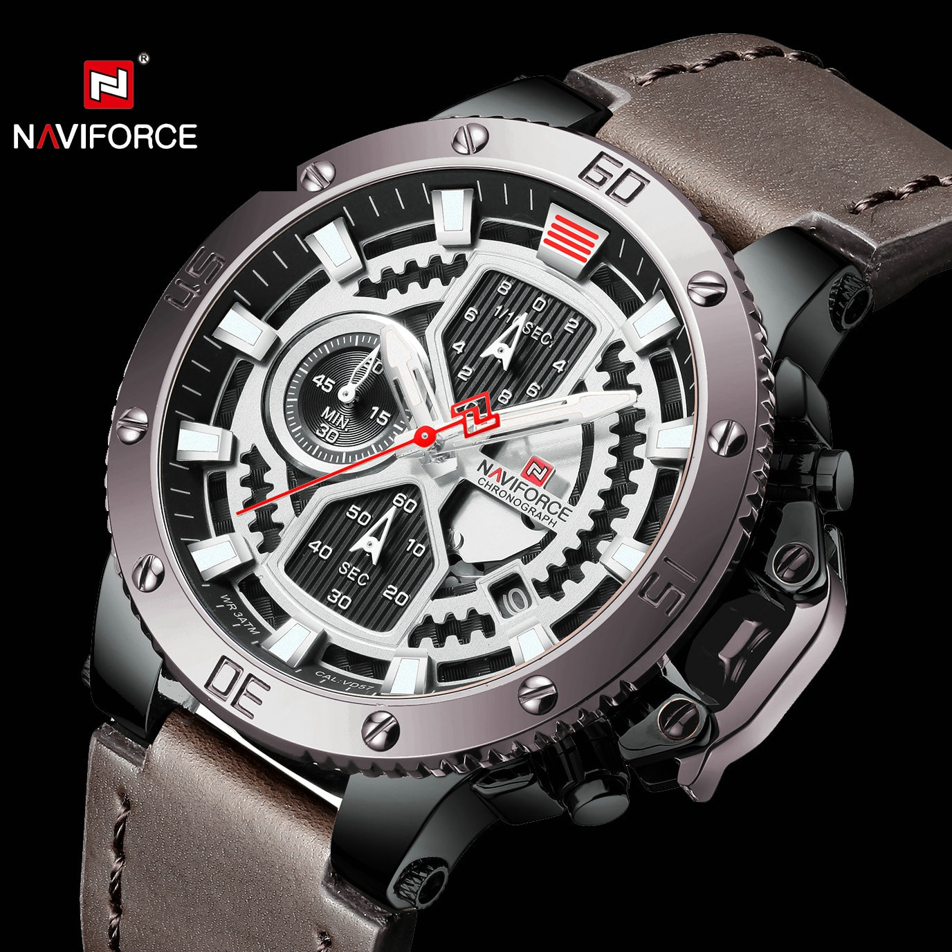 NAVIFORCE de moda reloj de cuarzo Casual de cuero de los hombres de correa calendario hombre reloj impermeable de los deportes relojes de pulsera para hombre reloj