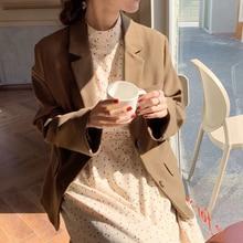 The Smallest Sea Homemade Korean Style Suit Collar Suit Temperament Wild Retro Picklesgreen Woolen B