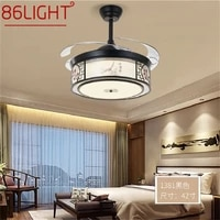 86light ceiling fan light invisible lamp with remote control modern black elegance for home bedroom