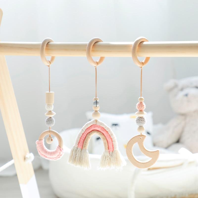Baby Spielzeug Regenbogen Hängen Spielen Gym Kinderzimmer Dekoration Spielzeug Mond Glocke Montessori Geburtstag Baby Dusche Geschenk Rassel 1 set