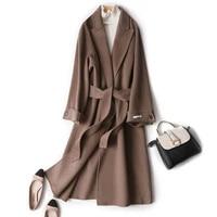 woman coats winter wool double sided coat with belt office lady 2020 autumn winter fashion overcoat outerwear casaco feminino