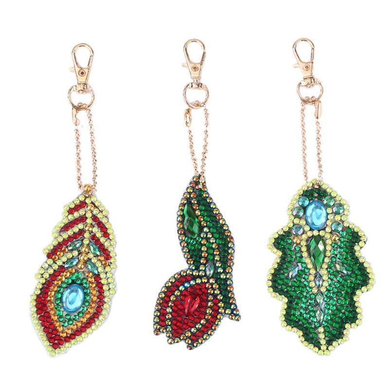 Diamant porte-clés motif de mode feuilles porte-clés sac pendentif 5D diamant peinture arbre de noël pour la décoration intérieure