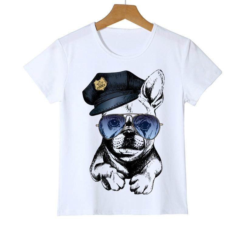Verano niños policía perro niños niñas bebé unicornio dibujos animados divertida camiseta niños conejo/gato/Panda/perro Tops ropa