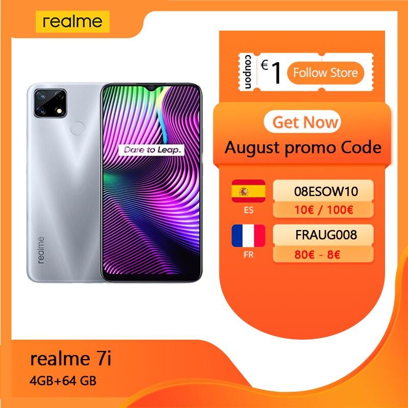 realme 7i Cellphone Global Version 4GB RAM 64GB ROM MTK Helio G85 Gaming Processor 48MP AI Triple Cameras 6000mAh 18W Charge