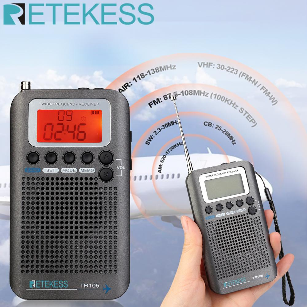 Retekess TR105 портативный самолет группа FM/AM/SW/CB/AIR/VHF цифровой тюнинг радио с таймером вкл/выкл часы функция