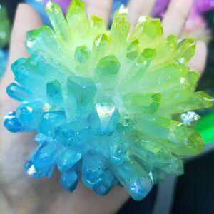 300-400g Dual Color Electroplated Natural Crystal Cluster Specimen Raw Rock Quartz Flowers Aura Stones  Gift Modern House Decor