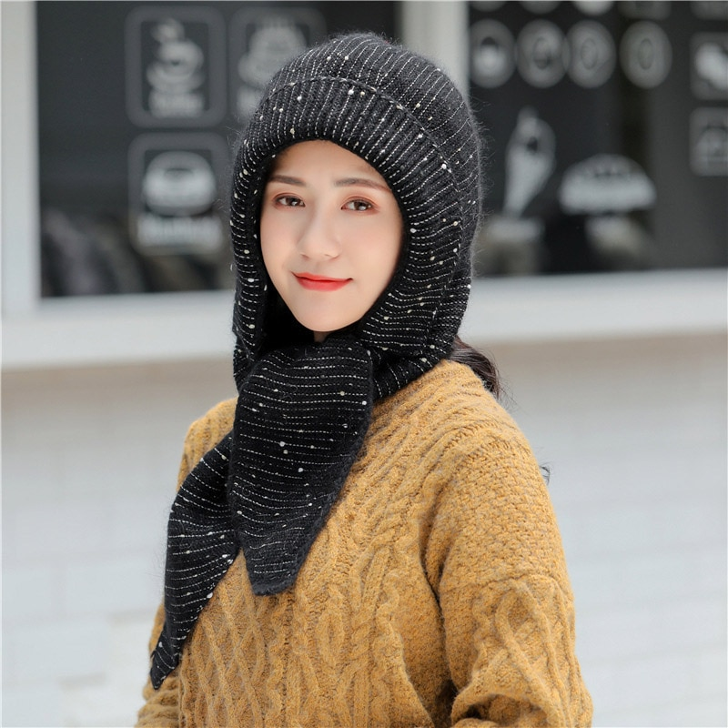 Warm Rabbit Hair Knitted Beanie Hat Fashion Snowflake Dots Scarf Hats Winter Hats For Women Thick Skullies Beanies Bonnet Female